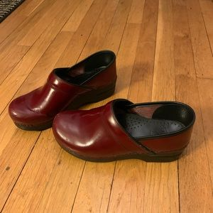 Dansko Patent Claret Red clogs